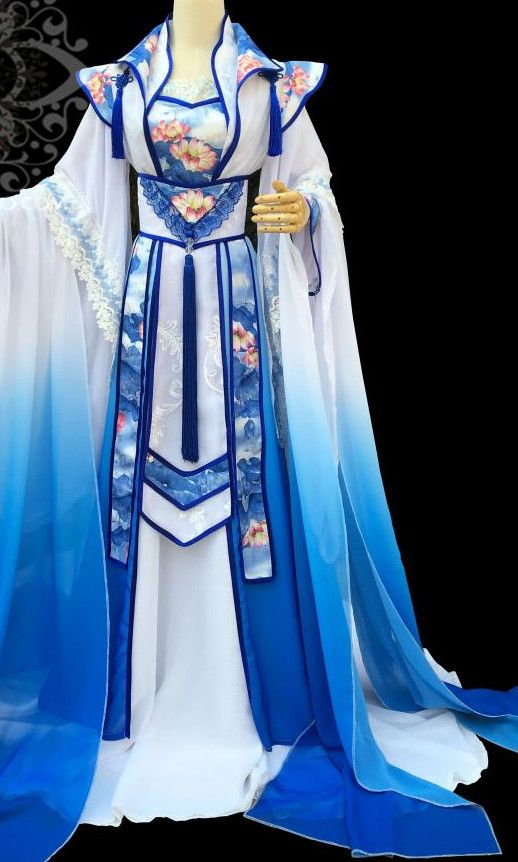 Blue Lotus Chinese Traditional High Collar Empress Clothing Complete ...