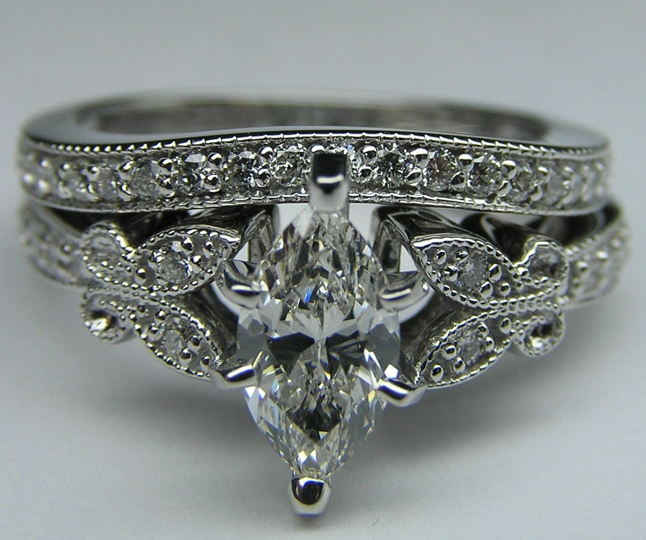 Marquise Diamond Butterfly Vintage Engagement Ring Setting One Of My Antique Engagement Rings Engagement Ring Matching Wedding Band Engagement Rings Marquise