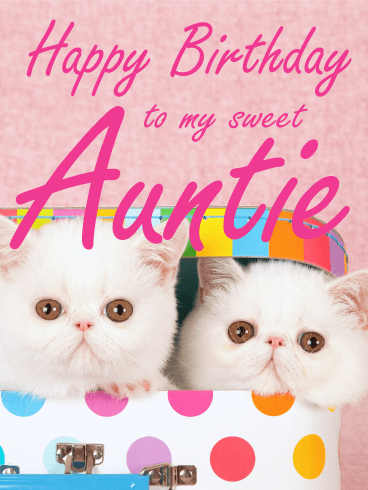 Fluffy Cat Happy Birthday Card For Aunt Fluffy Kittens Galore What