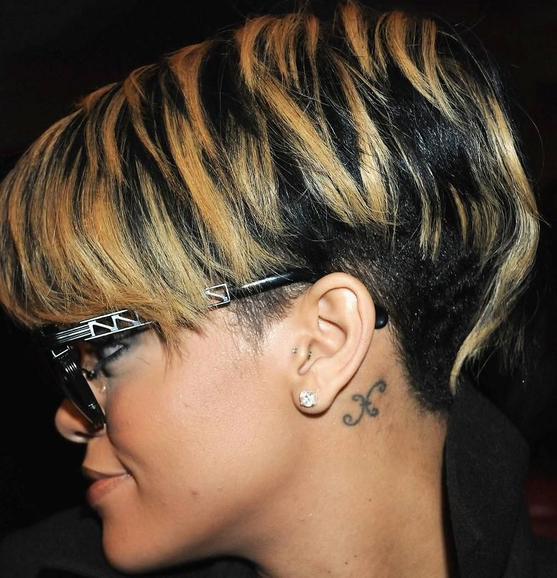 Highlights For Black Hair Rihannas Black Colored Short Hairstyle