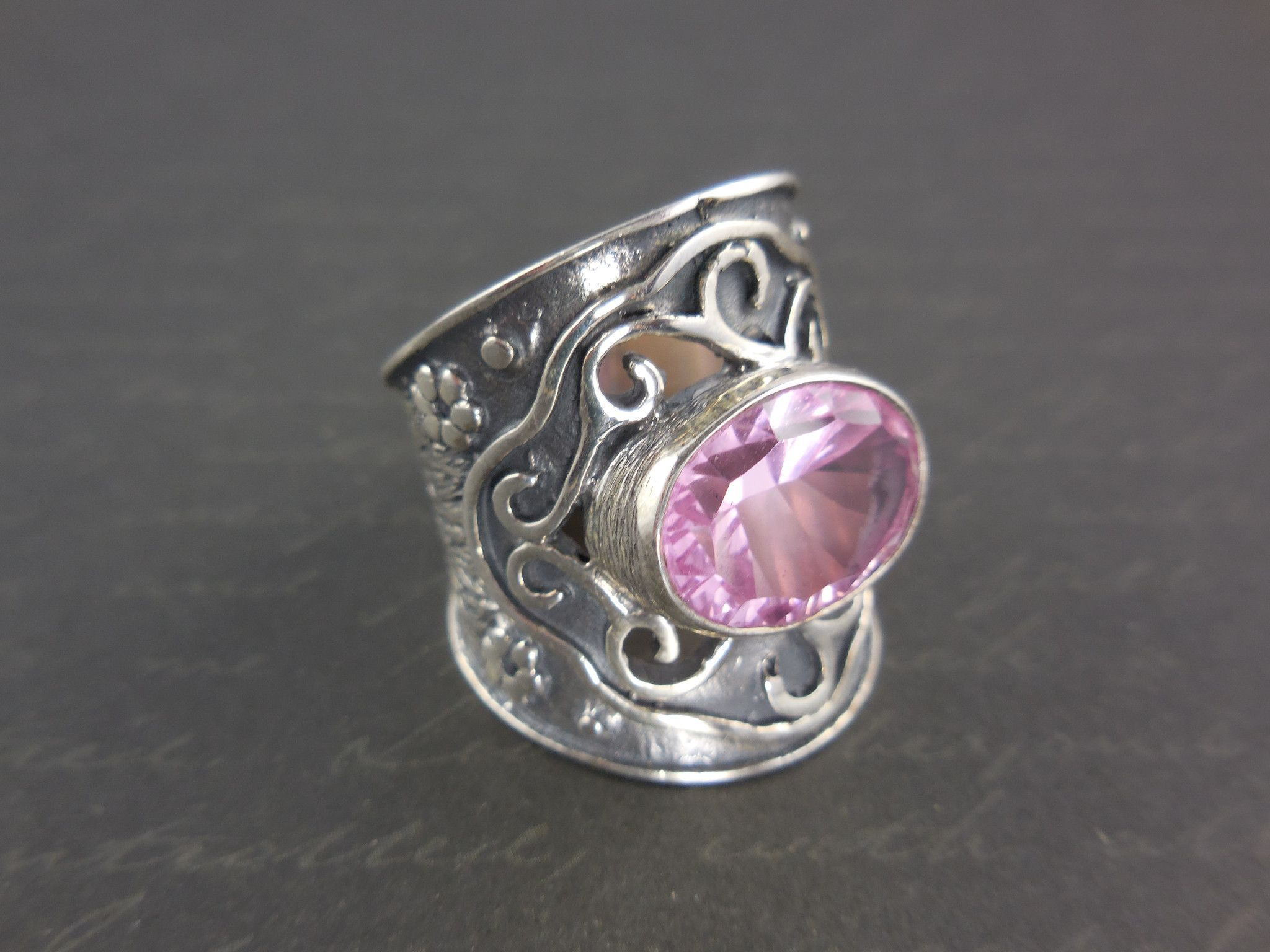 Pink Quartz Sterling Silver Ring - Size 6