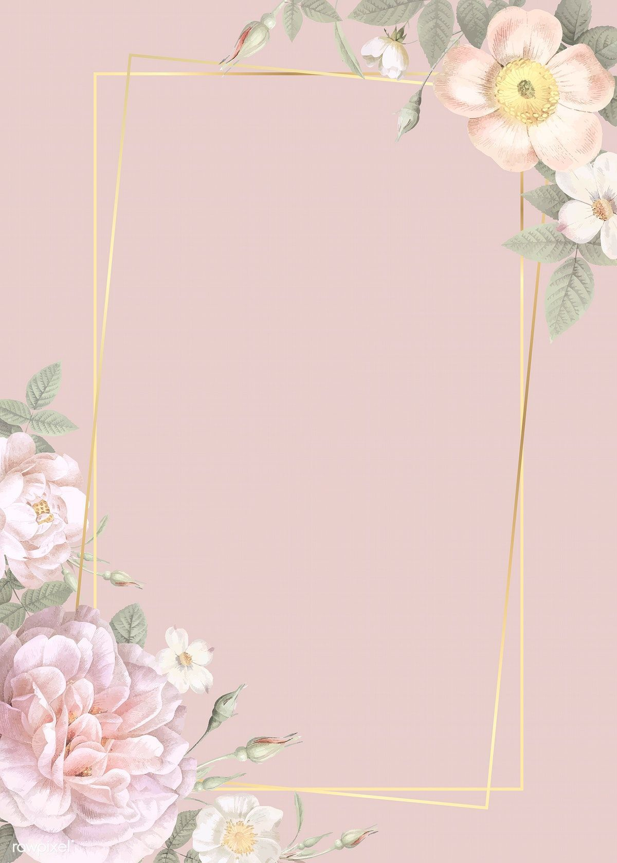 Download Premium Illustration Of Hand Drawn Floral Rectangle Gold