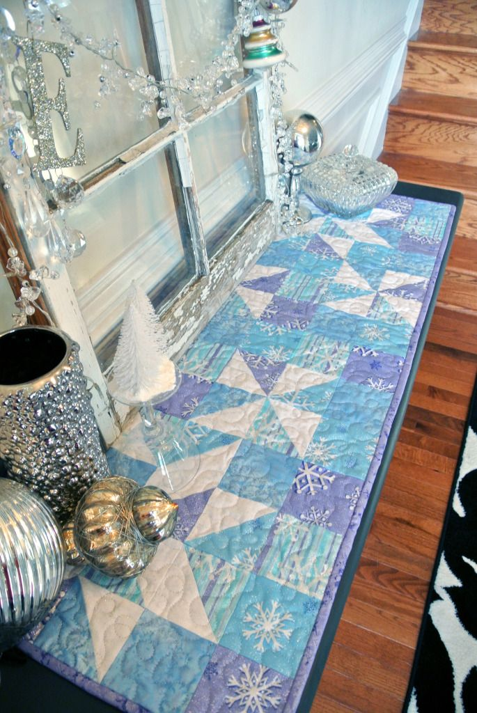 "FFSS  Shining Star table runner in ""Fairy Frost"".  Love those colors!"