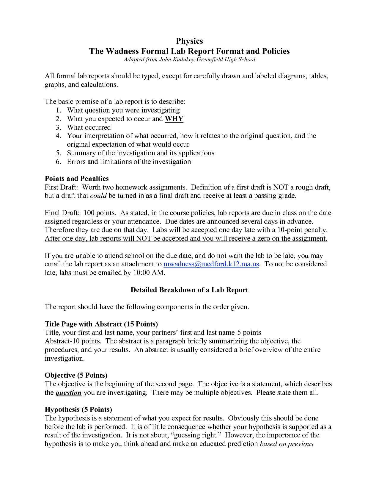 Formal Lab Report Template Physics Biological Science With