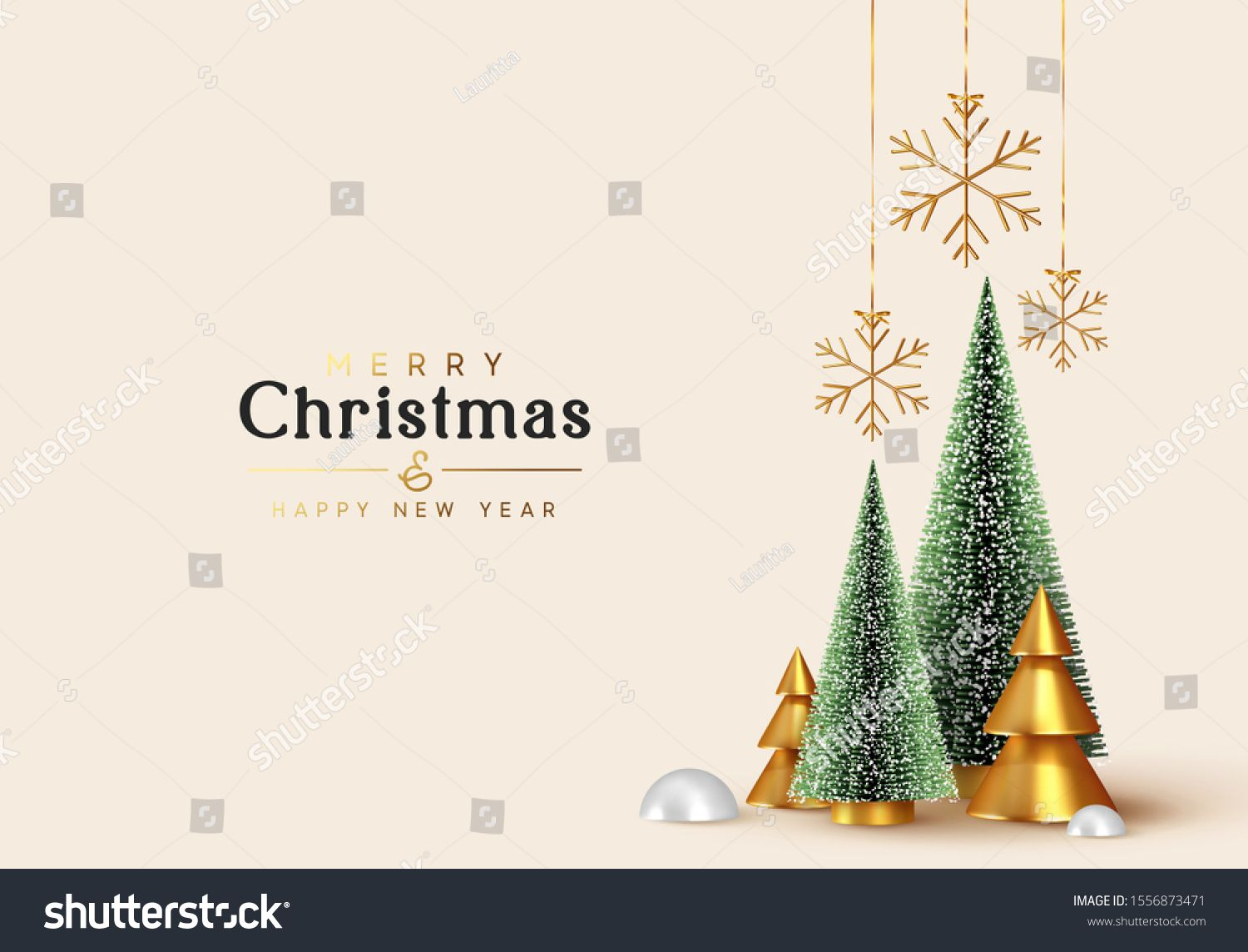 Christmas And New Year Background Xmas Pine Fir Lush Tree Conical Abstract Gold Christmas Trees Snow In 2020 New Years Background Gold Christmas Tree Gold Christmas