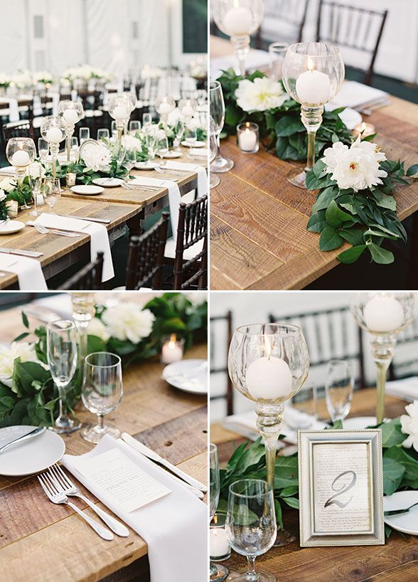 Long Banquet Tables Lined With Lush Green Table Runners Accented White Blooms And Candles