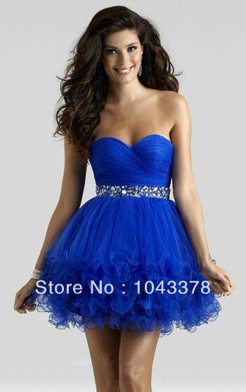 Line Blue Sweetheart Short Prom Dresses