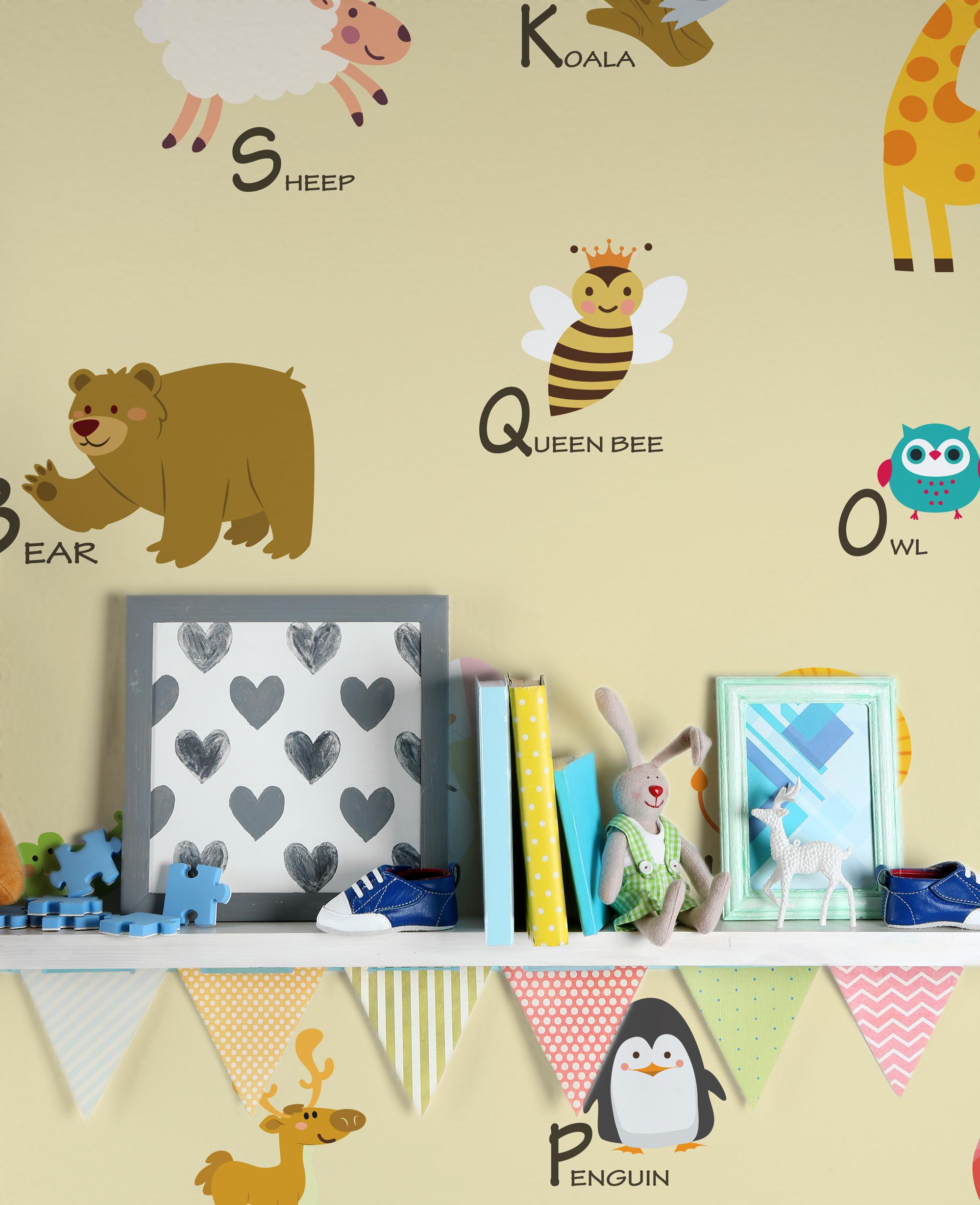 Carta Da Parati Bambini Texture.Alfabeto Inglese Beige Carta Da Parati Con Texture Telata 300 Gr