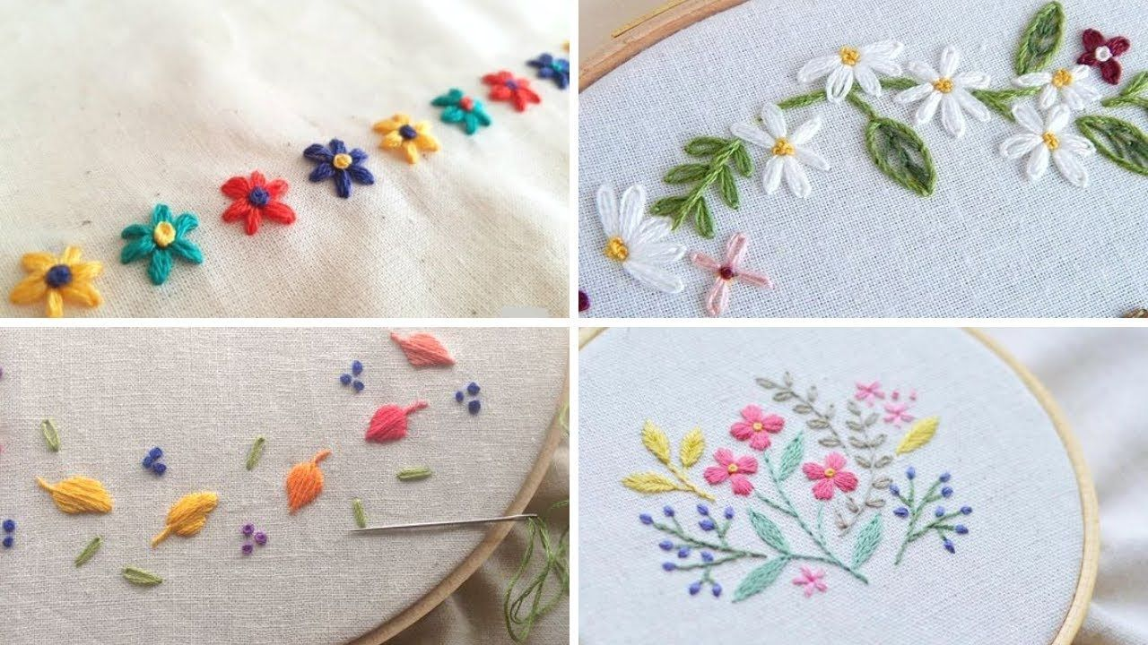 Hand embroidery designs  Try this flower designs for baby and kids ...