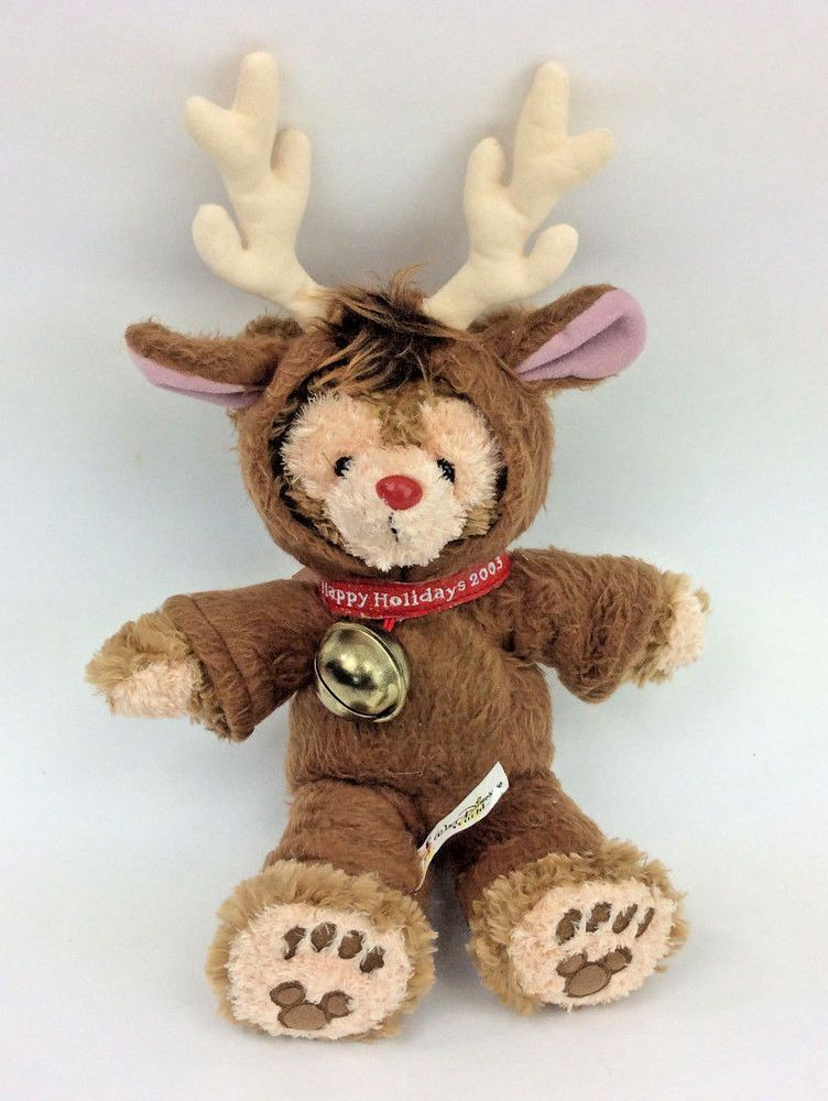Disney Duffy Bear 2003 Happy Holidays Rudolph Red Nose