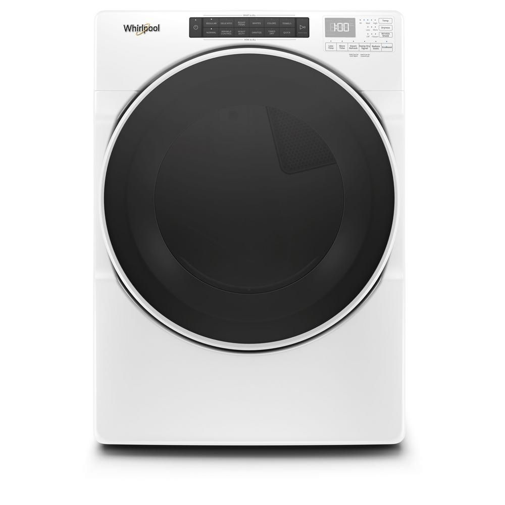 Whirlpool 7 4 Cu Ft 240 Volt White Stackable Electric Dryer With Steam And Wrinkle Shield Plus Option Energy Star Wed6620hw The Home Depot Electric Dryers Whirlpool Washer And Dryer Gas Dryer