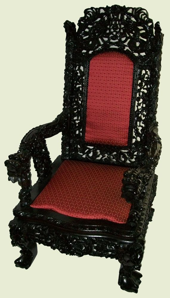 Chinese Carved Chair | Antique Heavily Carved Chinese Chair Mahogany Ball  And Claw Feet .