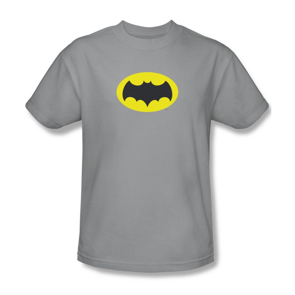 Batman NEW 52 Logo Shield Silver on BLACK Licensed Women/'s T-Shirt All Sizes