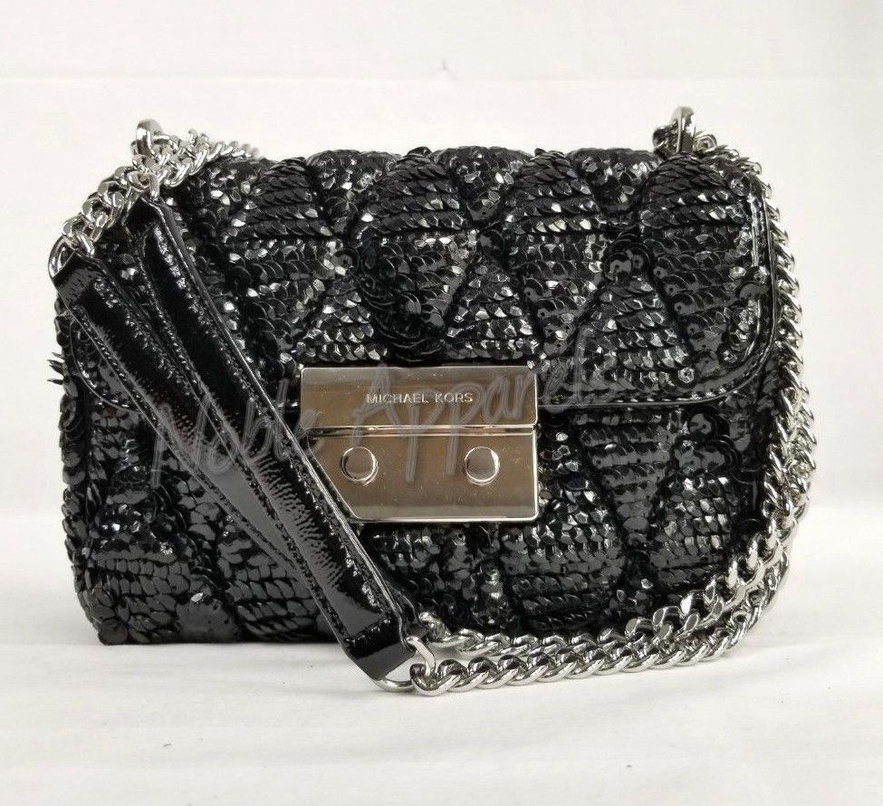 bb12046061f9 NWT Michael Kors Sloan Sequined Quilted SM Chain Shoulder Bag Leather Black