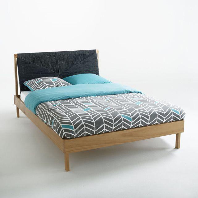 lit en pin massif et tête de lit tressée, malu la redoute