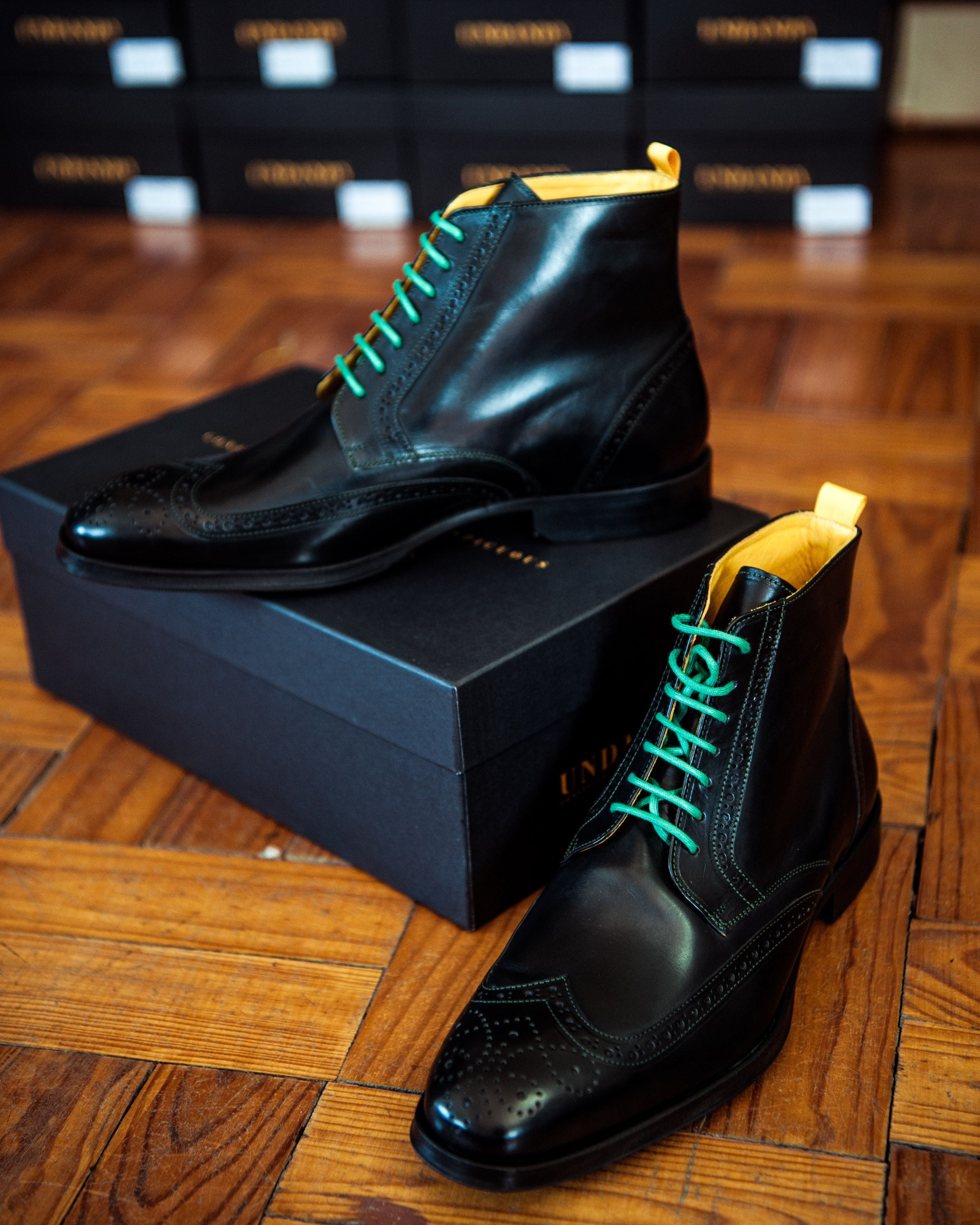a589d392ca5 Undandy Custom Made Handcrafted Dress Shoes for Men Boots Brogue Black Calf  leather Autumn Winter Style Men s Fashion