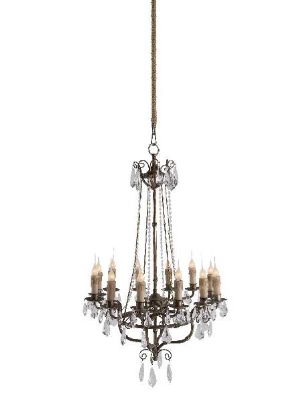 Color/FinishRustic Silver  Height33  Width23  Depth23    Cord CoverClear - Plastic  Wattage60W  Switch TypeHard Wire  Cord Lenght6 to 7 feet  Bulb12 Candelabra Bulbs  Material 1Iron  Date Expected: 01/01/2013    Reg.  $660.00