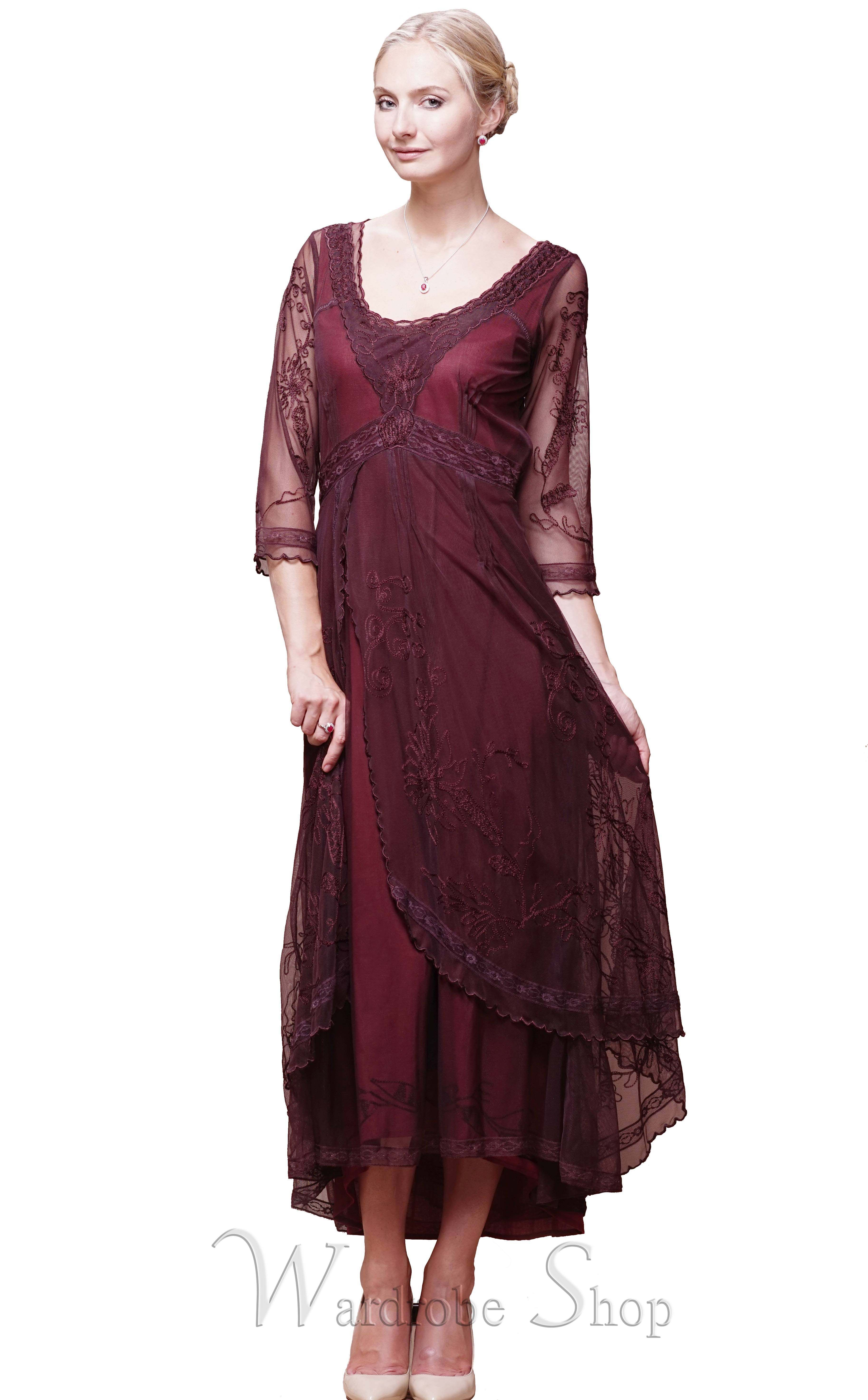 Downton Abbey Tea Party Gown In Ruby By Nataya Vintage Style