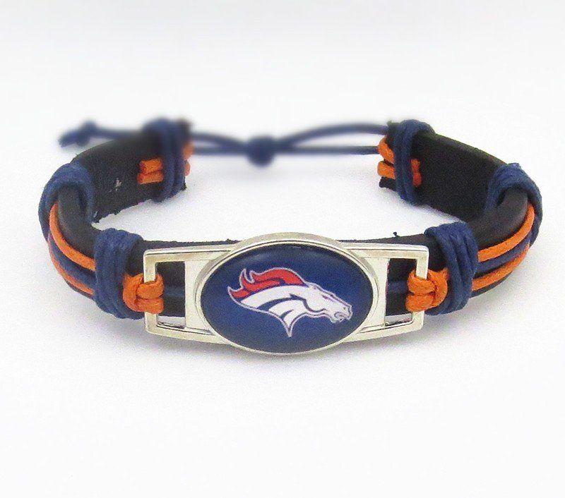 7394592eaef Denver Broncos Football Leather Cuff Bracelet