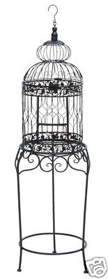 Victorian Style Antiqued Metal Bird Cage with Wrought Iron Stand