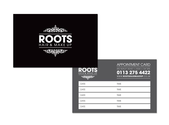Roots Hair  Make Up appointment card #logo #branding #design
