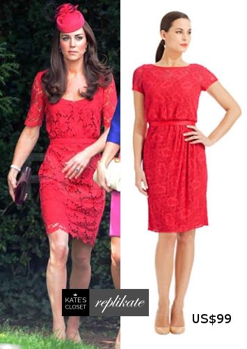bfec5c4129 Kate Middleton Style Inspiration. SHOP repliKates of the Collette Dinnigan  red lace dress