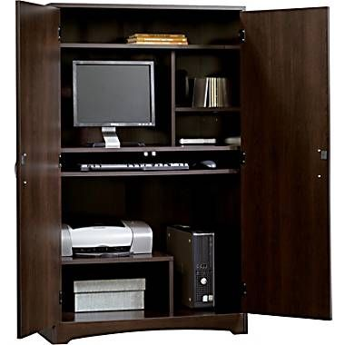 Sauder Beginnings Computer Armoire Cinnamon Cherry Staples