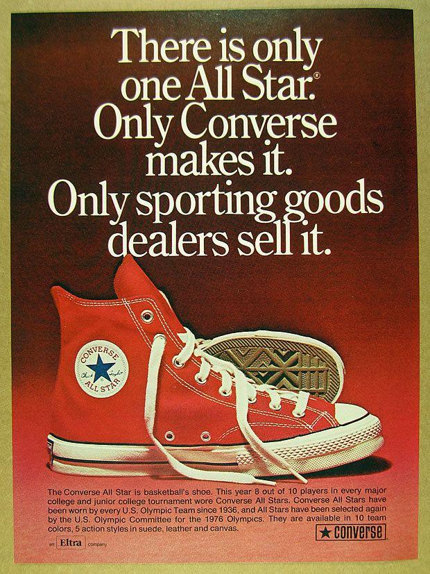 d144698f3e2a 1973 Converse ALL-STAR Chuck Taylor red hi-top shoes photo vintage print Ad
