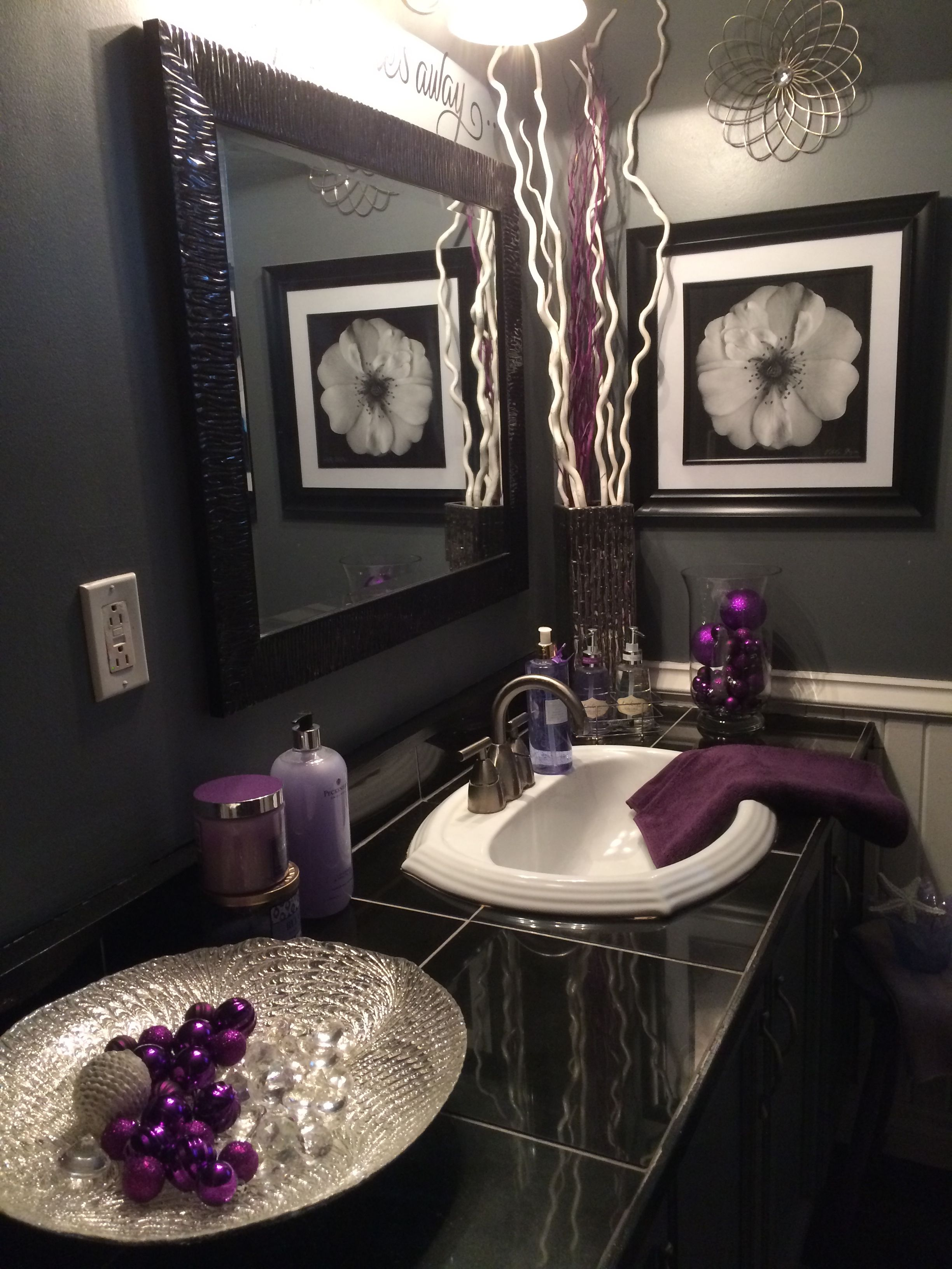 Black and grey bathroom with lavender accents  Purple bathroom