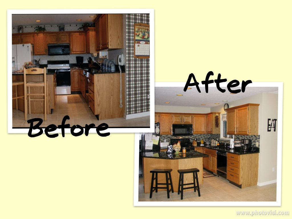 Paint over wallpaper, new hardware, inexpensive glass tile ...