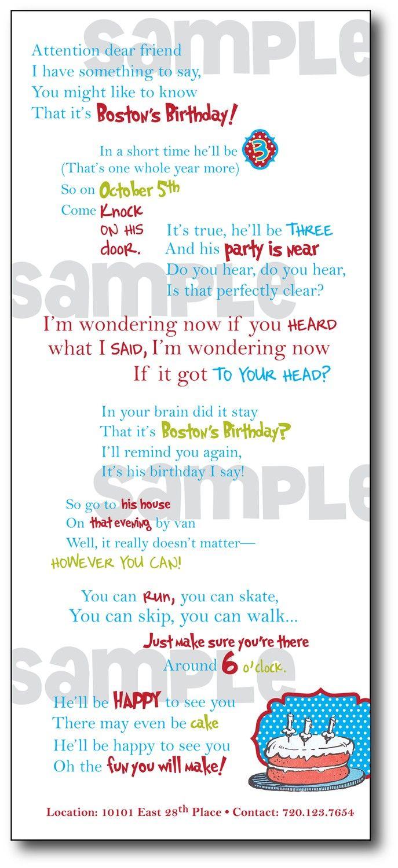 Printable Dr. Seuss Themed Birthday Invitation Package | Birthdays ...