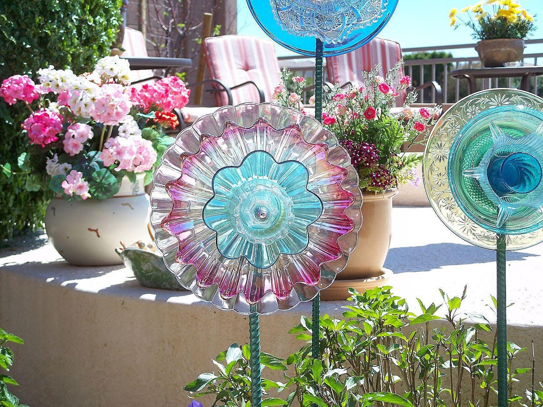 Glass yard art  Yard And Garden Art Outdoor Decoration Glass Garden Flower