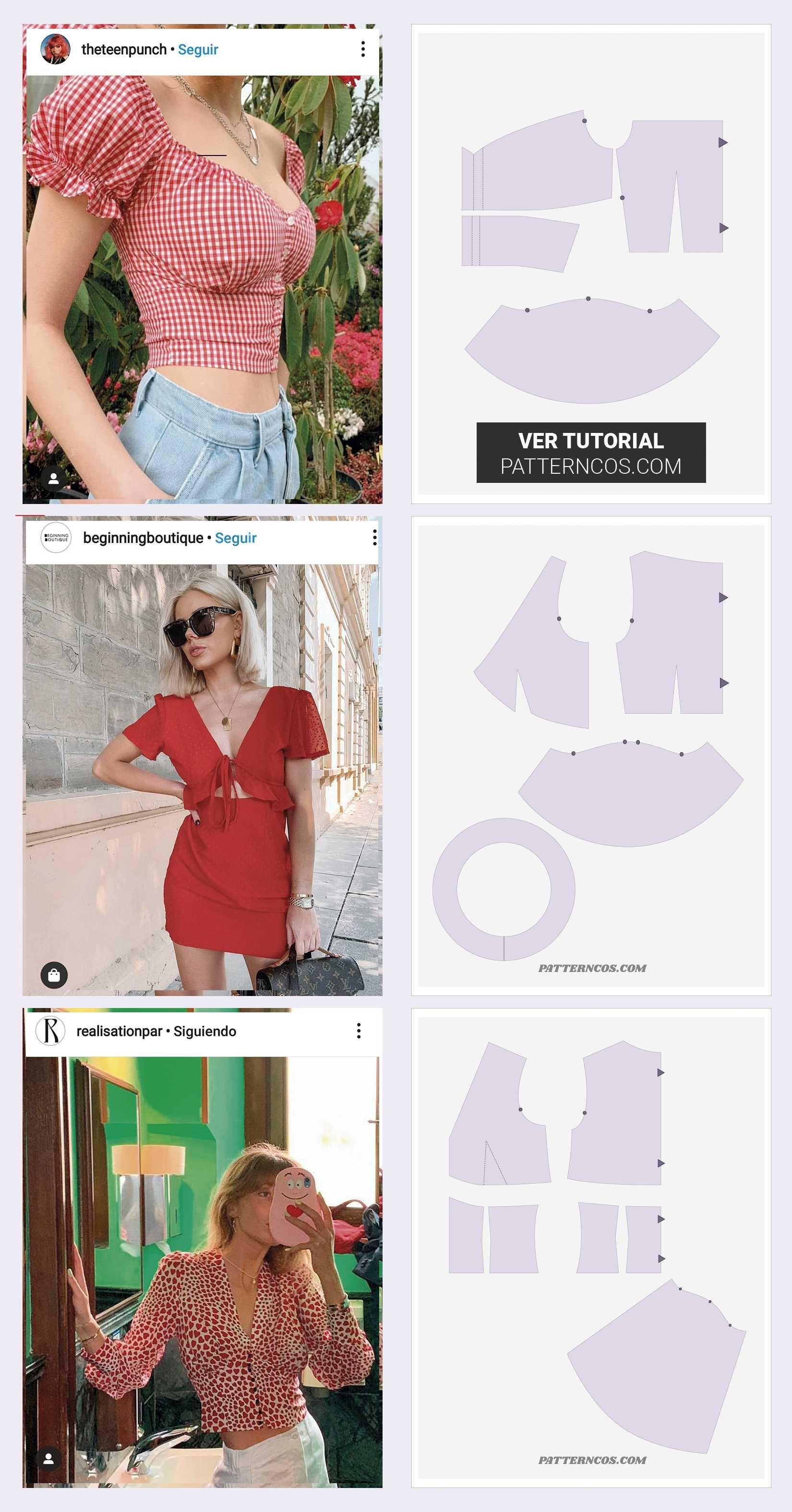 Muster-Tutorial für drei Sommeroberteile, #muster #sommeroberteile #tutorial – Clothes