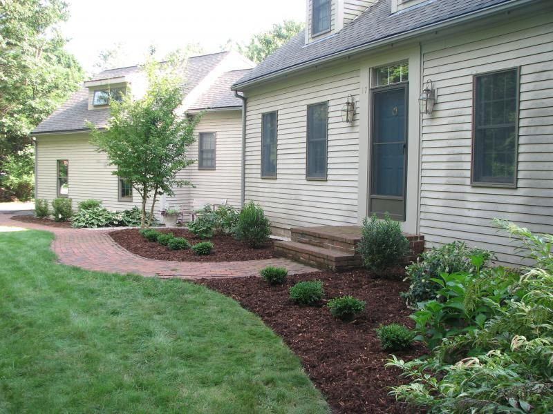 Foundation plantings home pinterest planting bird for Red house garden design