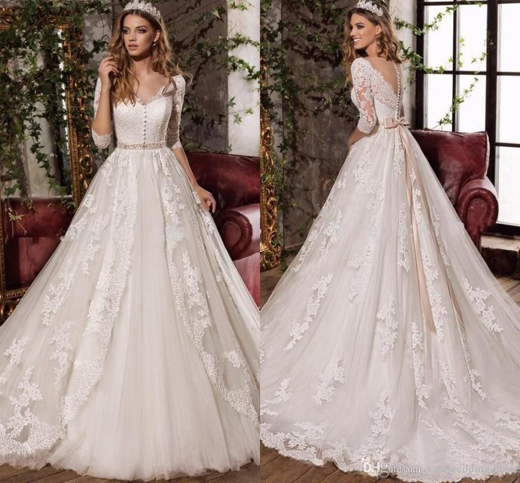 Discount2017 White Lace Vintage Bridal Dresses V Neck Collar Elegant 3 4 Long Sleeves Wedding Gowns Peplum Tiered Ruffle Custom Made Wedding Dresses From Yatewe Mermaid Style Wedding Dress Dhgate Wedding Dress [ 950 x 1024 Pixel ]
