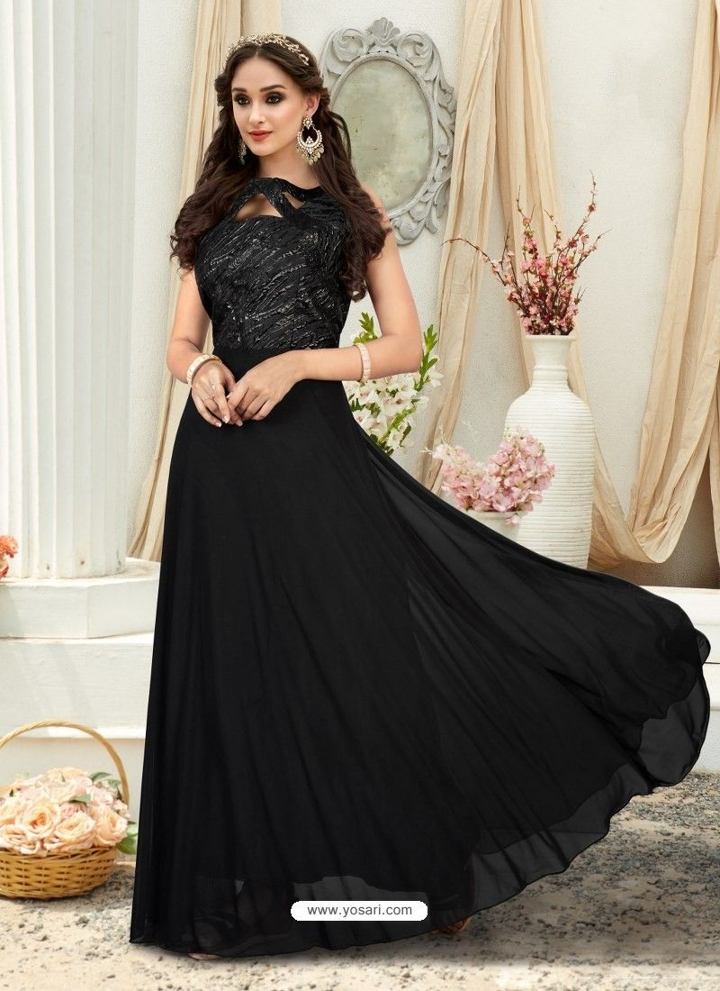 Glorious black embroidered jacquard designer gown black