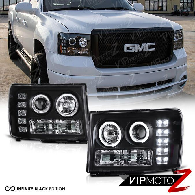 2007 2013 Gmc Sierra 1500 2500hd 3500hd Black Led Angel Eye