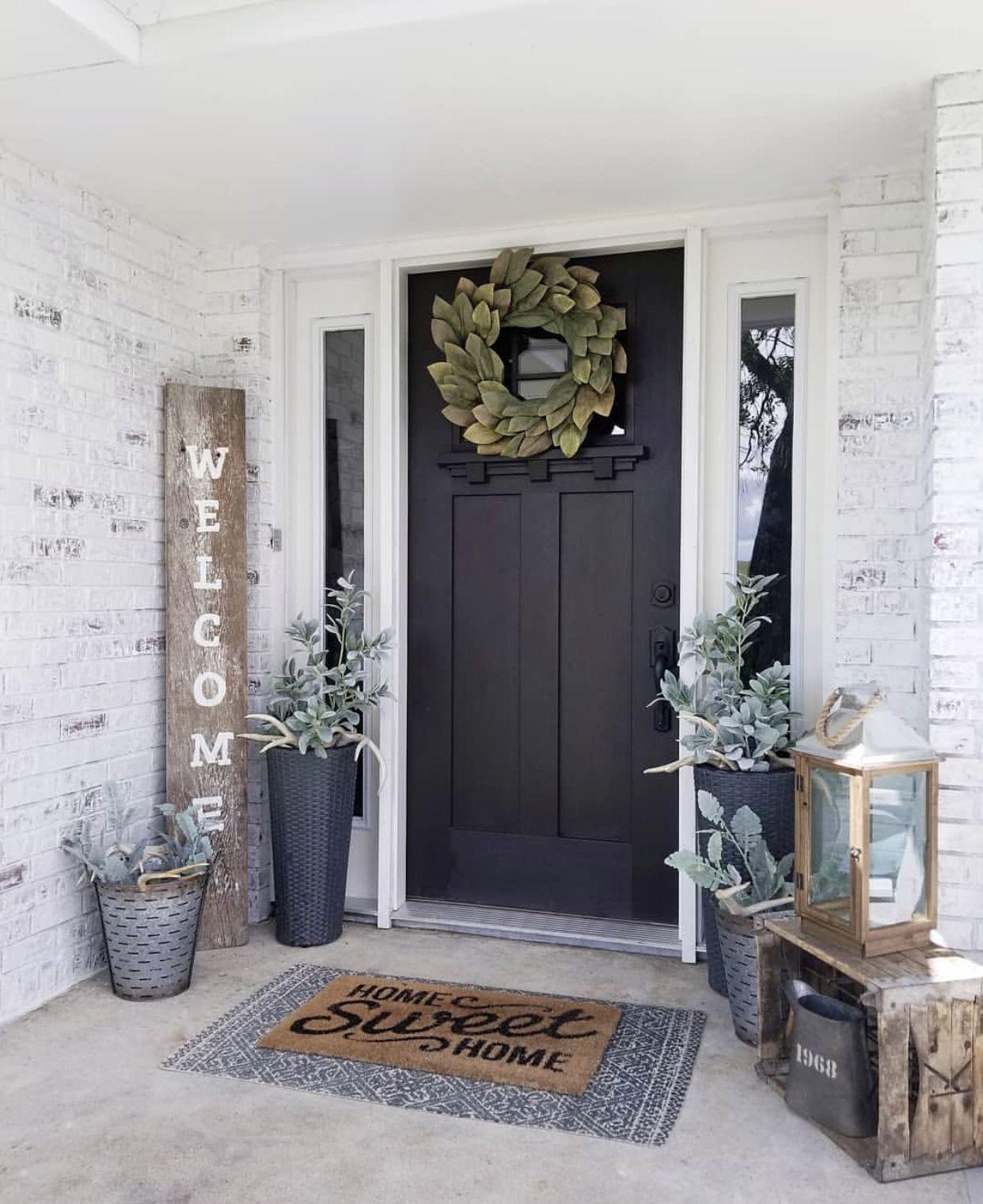 Mew Black Front Door Modern Farmhouse Decor Front Porch Decorating Rustic Porch