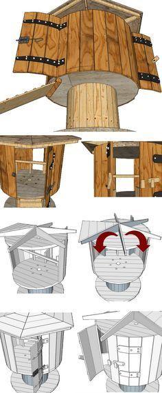 plan de montage d\u0027un poulailler fait avec la récup d\u0027un touret de - Montage D Un Garage En Bois