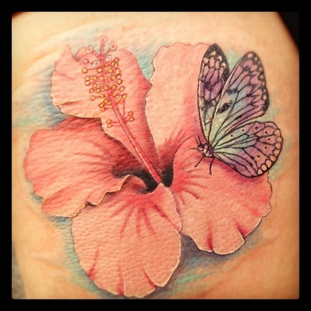 Hibiscus Flower And Butterfly Tattoos And Art By Mike Bush