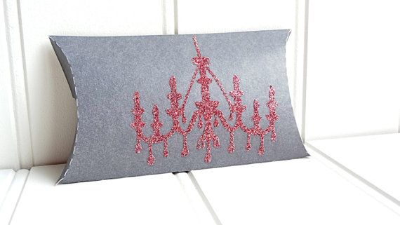 50 Gray Pillow Favor Boxes / Chandelier by ThePaperBazaar on Etsy, $98.87