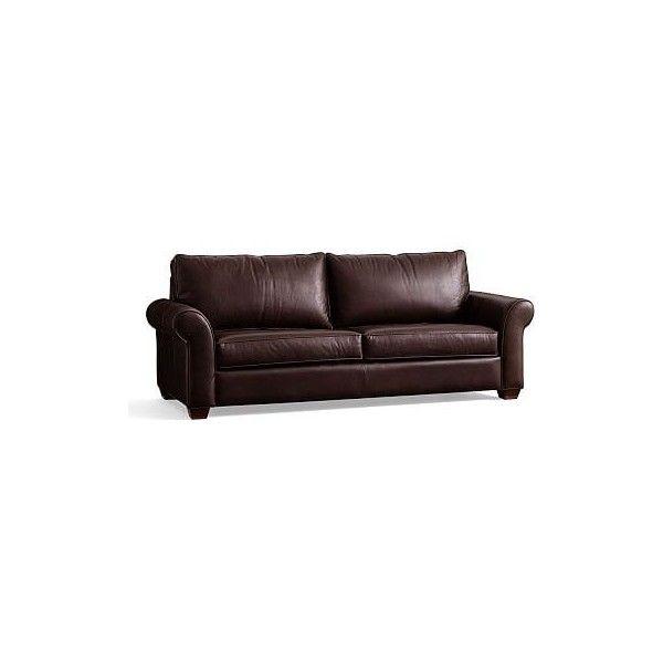 Pottery Barn PB Comfort Roll Arm Leather Sleeper Sofa (4,010 CAD) ❤ Liked On
