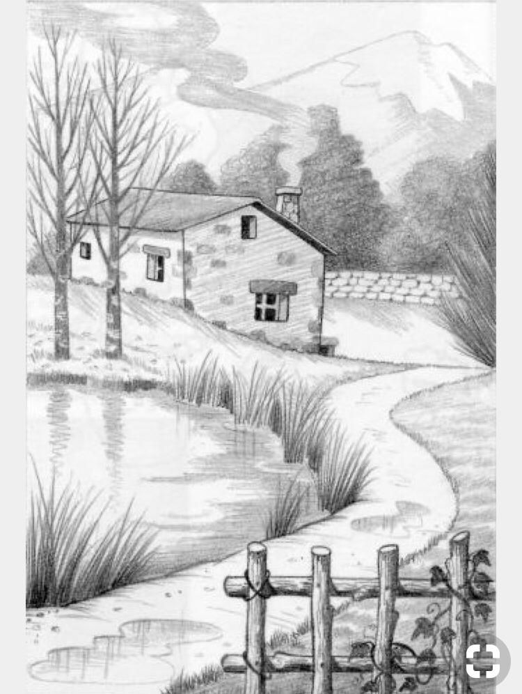 Pin By Tina On Sketches Landscape Pencil Drawings Nature Sketches Pencil Landscape Drawings