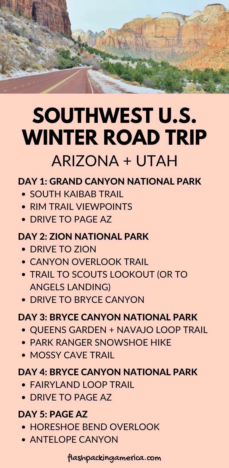 Arizona Utah national parks 5 day winter itinerary: U.S. Road trip from Phoenix