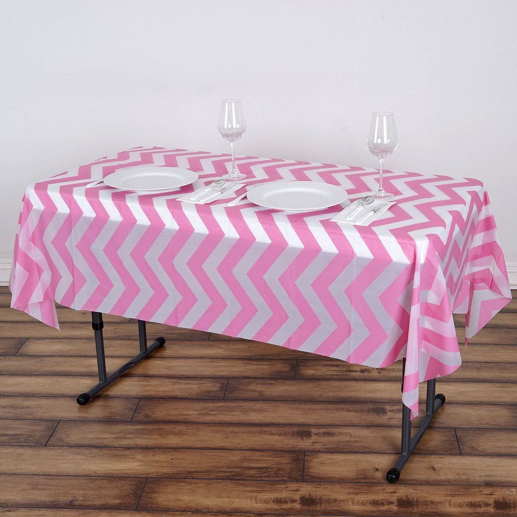 54 X 72 Pink 10 Mil Thick Chevron Waterproof Tablecloth Pvc Rectangle Disposable Tablecloth In 2020 Plastic Table Covers Vinyl Tablecloth Waterproof Tablecloth