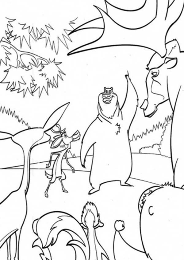 Boog Meets The Other Animals In Open Season Coloring Pages Bulk Color Coloring Pages Open Season Animated Cartoons