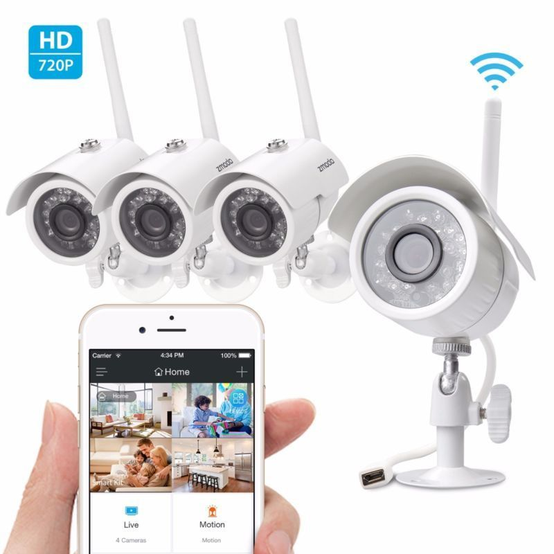 Wireless Outdoor IR Night Vision Home Security Camera System HD 4 ...