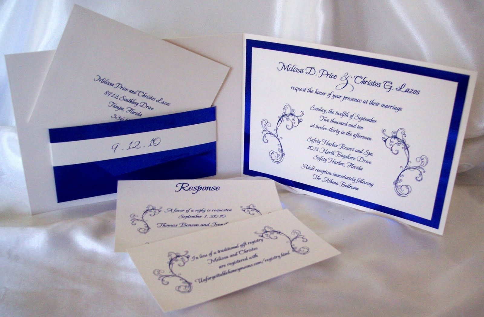 Royal Blue Silver Black Wedding Invitations My Happily Ever After