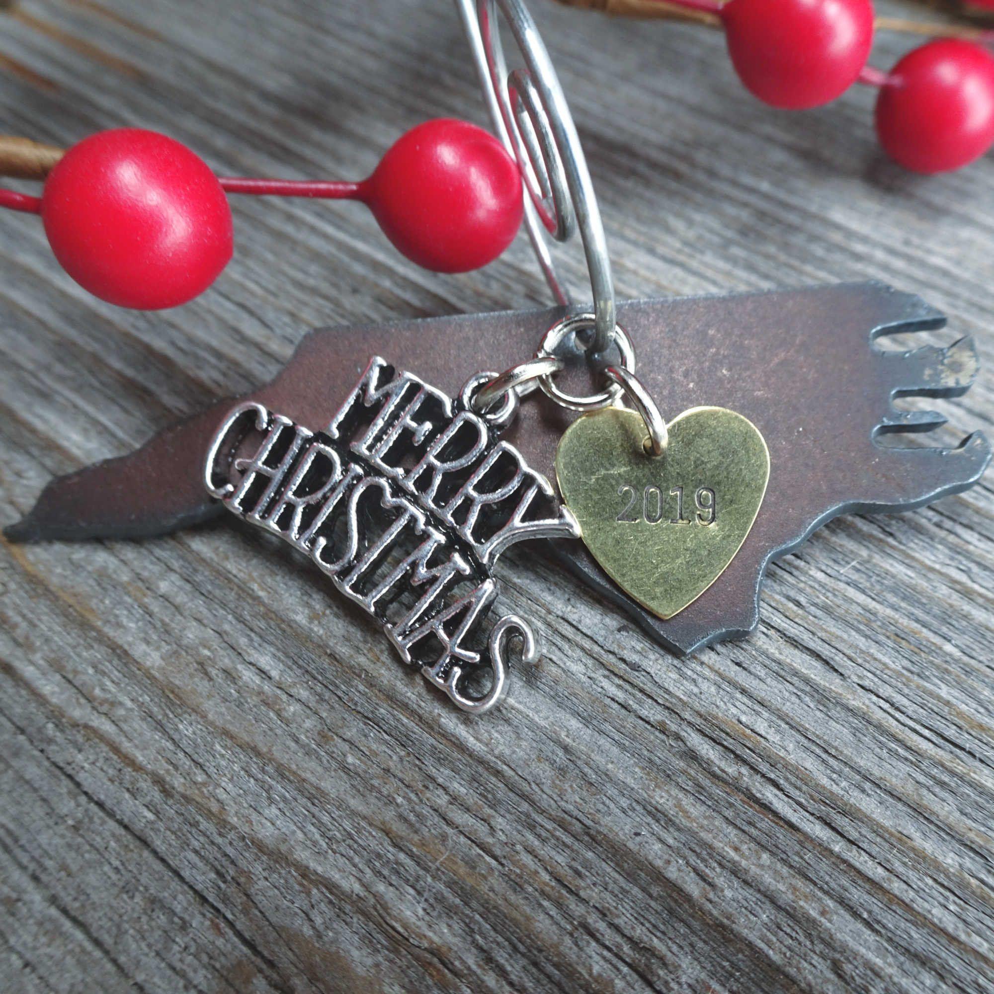 North carolina christmas ornament small rustic metal hand