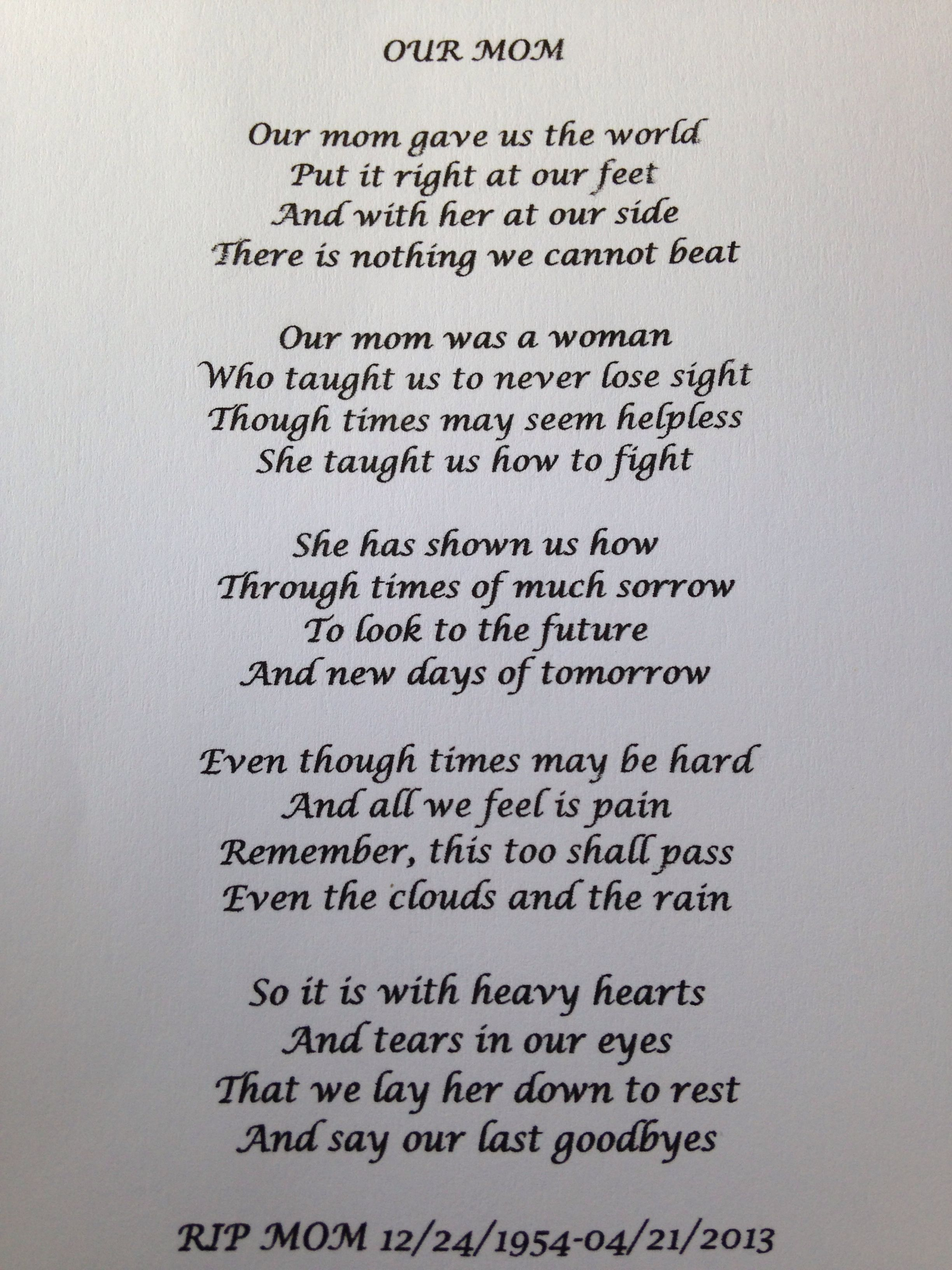 A poem I wrote for my mom and read at her funeralI miss you